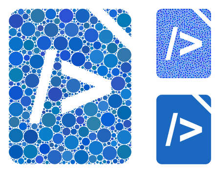 Script code composition of spheric dots in variable sizes and color tints, based on script code icon. Vector round dots are organized into blue composition. 版權商用圖片 - 133434931