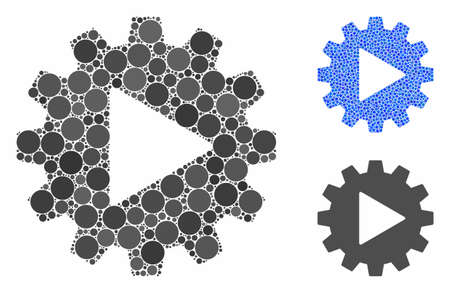 Automation gear composition of round dots in various sizes and color tinges, based on automation gear icon. Vector round dots are combined into blue composition.