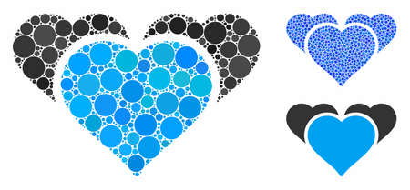 Favourite hearts composition of filled circles in variable sizes and color tints, based on favourite hearts icon. Vector small circles are composed into blue mosaic.