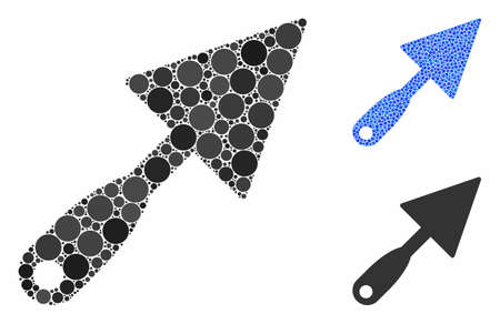 Trowel mosaic of round dots in variable sizes and color tinges, based on trowel icon. Vector round elements are composed into blue mosaic. Dotted trowel icon in usual and blue versions.