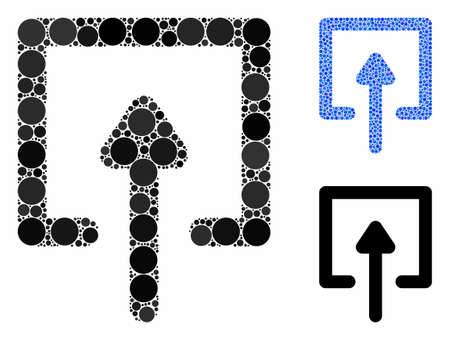 Upload composition of round dots in various sizes and color tints, based on upload icon. Vector circle elements are organized into blue composition. Dotted upload icon in usual and blue versions.