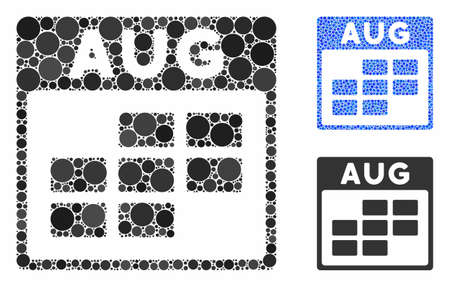 August calendar grid composition of round dots in various sizes and shades, based on August calendar grid icon. Vector round dots are composed into blue composition.