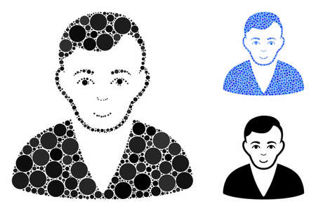 Man composition of small circles in various sizes and shades, based on man icon. Vector small circles are organized into blue composition. Dotted man icon in usual and blue versions. Vetores