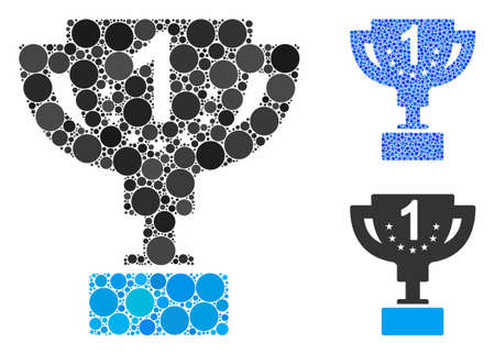 First prize cup composition of circle elements in variable sizes and color tints, based on first prize cup icon. Vector circle elements are organized into blue mosaic.