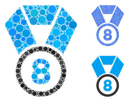 8th place medal composition of round dots in different sizes and color tinges, based on 8th place medal icon. Vector round dots are organized into blue composition.