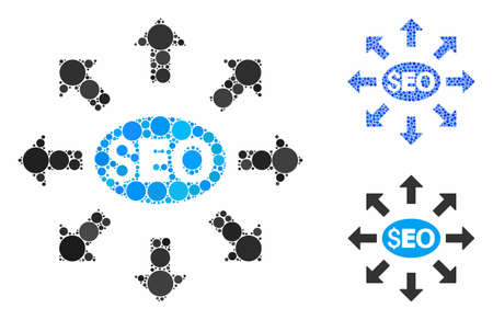Seo distribution mosaic of filled circles in different sizes and color tints, based on seo distribution icon. Vector filled circles are united into blue composition.