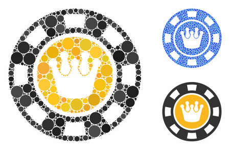 Crown casino chip composition of round dots in variable sizes and color tints, based on crown casino chip icon. Vector circle elements are organized into blue composition. Illusztráció