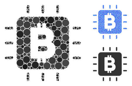 Bitcoin processor chip mosaic of round dots in different sizes and color tints, based on Bitcoin processor chip icon. Vector round dots are grouped into blue mosaic.
