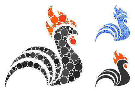 Rooster mosaic of round dots in various sizes and shades, based on rooster icon. Vector round dots are combined into blue mosaic. Dotted rooster icon in usual and blue versions.