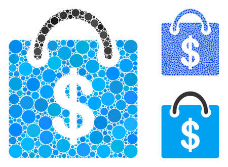 Shopping bag composition of circle elements in different sizes and color tones, based on shopping bag icon. Vector circle elements are combined into blue composition.