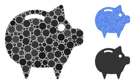 Piggy bank composition of small circles in variable sizes and color hues, based on piggy bank icon. Vector small circles are combined into blue composition. Illusztráció