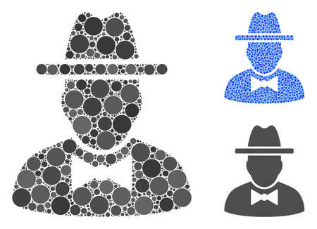 Spy composition of round dots in various sizes and color hues, based on spy icon. Vector round dots are organized into blue mosaic. Dotted spy icon in usual and blue versions.