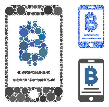 Baht mobile payment mosaic of small circles in different sizes and shades, based on baht mobile payment icon. Vector random circles are grouped into blue mosaic. Stock Illustratie