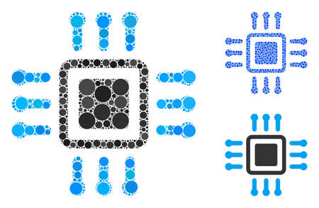 Processor mosaic of small circles in different sizes and shades, based on processor icon. Vector filled circles are grouped into blue illustration. Dotted processor icon in usual and blue versions. 일러스트