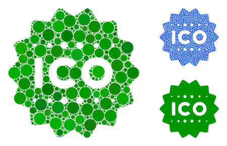 ICO token mosaic of round dots in various sizes and color tints, based on ICO token icon. Vector random circles are united into blue mosaic. Dotted ICO token icon in usual and blue versions. Ilustração