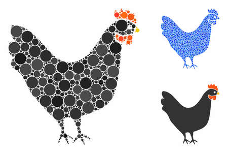 Chicken mosaic of round dots in different sizes and color tints, based on chicken icon. Vector round dots are combined into blue illustration. Dotted chicken icon in usual and blue versions. Illustration