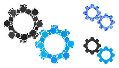 Mechanical gears composition of filled circles in various sizes and color tinges, based on mechanical gears icon. Vector random circles are composed into blue composition.
