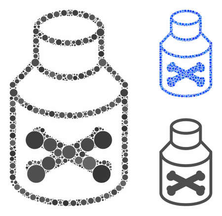 Poison phial composition of small circles in various sizes and color tinges, based on poison phial icon. Vector circle elements are organized into blue composition.