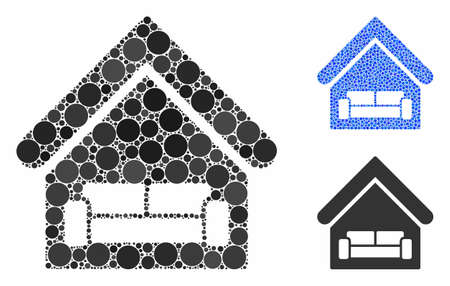House interrior composition of circle elements in variable sizes and color tinges, based on house interrior icon. Vector circle elements are combined into blue collage.