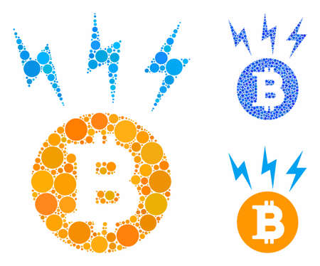 Bitcoin lightnings mosaic of filled circles in various sizes and color hues, based on Bitcoin lightnings icon. Vector filled circles are organized into blue collage.