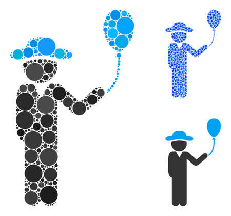 Gentleman with balloon composition of small circles in various sizes and color tints, based on gentleman with balloon icon. Vector small circles are combined into blue mosaic. Illusztráció