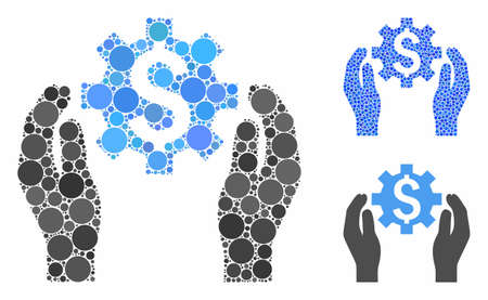 Financial options care hands composition of circle elements in various sizes and shades, based on financial options care hands icon. Vector circle elements are grouped into blue composition.