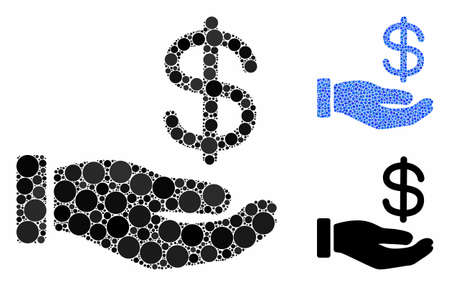 Dollar payment hand mosaic of round dots in different sizes and shades, based on dollar payment hand icon. Vector round dots are united into blue mosaic. Stock Illustratie
