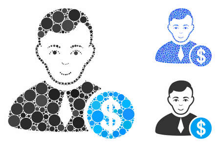 Commercial lawyer composition of filled circles in various sizes and shades, based on commercial lawyer icon. Vector filled circles are grouped into blue collage.