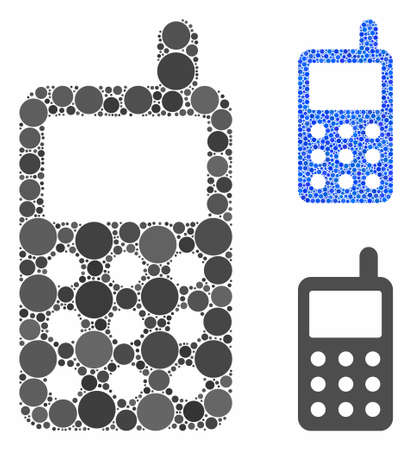 Portable radio transmitter mosaic of round dots in various sizes and shades, based on portable radio transmitter icon. Vector round dots are grouped into blue illustration. 일러스트
