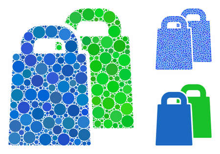 Buy composition of filled circles in various sizes and color tints, based on buy icon. Vector filled circles are combined into blue mosaic. Dotted buy icon in usual and blue versions. Illustration