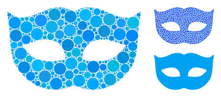 Privacy mask composition of round dots in various sizes and shades, based on privacy mask icon. Vector round dots are combined into blue composition.