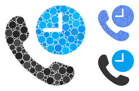 Phone time mosaic of circle elements in different sizes and color tinges, based on phone time icon. Vector circle elements are grouped into blue collage. 일러스트