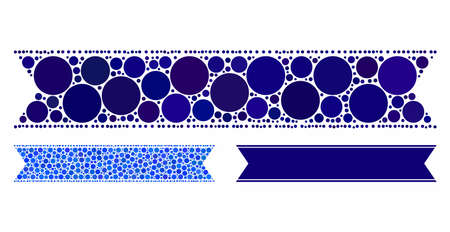 Striped ribbon composition of filled circles in different sizes and color hues, based on striped ribbon icon. Vector filled circles are combined into blue collage.