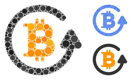 Bitcoin refund mosaic of round dots in various sizes and color tints, based on Bitcoin refund icon. Vector round elements are grouped into blue mosaic.