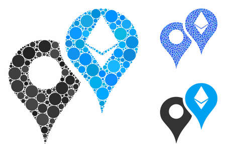 Ethereum map markers mosaic of circle elements in various sizes and color tints, based on Ethereum map markers icon. Vector circle elements are grouped into blue composition. Ilustrace