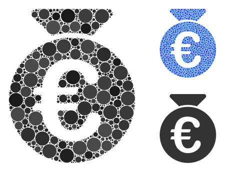 Euro money bag composition of spheric dots in different sizes and shades, based on Euro money bag icon. Vector dots are united into blue mosaic. Dotted Euro money bag icon in usual and blue versions.