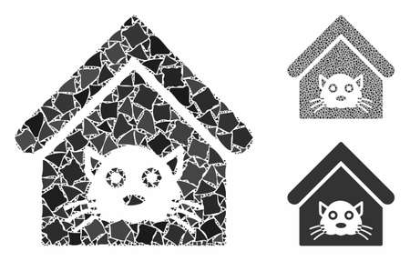 Cat house mosaic of rugged parts in various sizes and color tinges, based on cat house icon. Vector uneven pieces are grouped into mosaic. Cat house icons collage with dotted pattern. Illusztráció