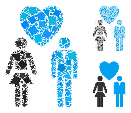 Love persons mosaic of abrupt pieces in various sizes and shades, based on love persons icon. Vector unequal pieces are grouped into mosaic. Love persons icons collage with dotted pattern.