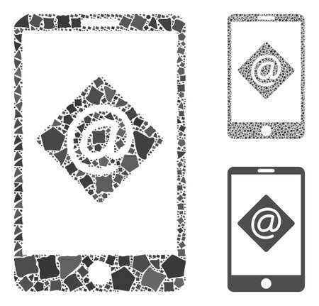 Mobile email composition of rugged items in different sizes and color tinges, based on mobile email icon. Vector bumpy parts are grouped into collage. Mobile email icons collage with dotted pattern.