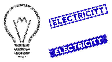 Mosaic electric bulb pictogram and rectangle seal stamps. Flat vector electric bulb mosaic pictogram of randomized rotated rectangle elements. Blue caption stamps with grunged surface.