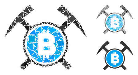 Bitcoin mining hammers composition of abrupt pieces in various sizes and color tones, based on Bitcoin mining hammers icon. Vector rugged pieces are united into composition.