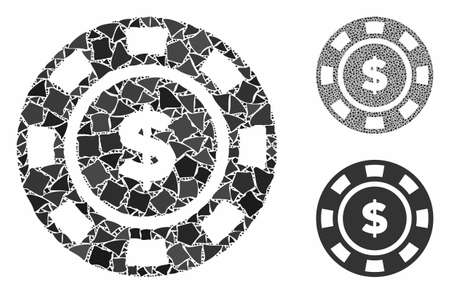 Dollar casino chip mosaic of joggly pieces in various sizes and color tones, based on dollar casino chip icon. Vector inequal pieces are grouped into collage.