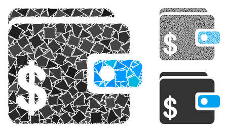 Dollar wallet mosaic of humpy pieces in variable sizes and color tints, based on dollar wallet icon. Vector rugged pieces are combined into collage. Dollar wallet icons collage with dotted pattern.