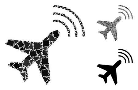 Radio monitoring airplane composition of tuberous items in variable sizes and color tones, based on radio monitoring airplane icon. Vector tuberous elements are combined into collage.