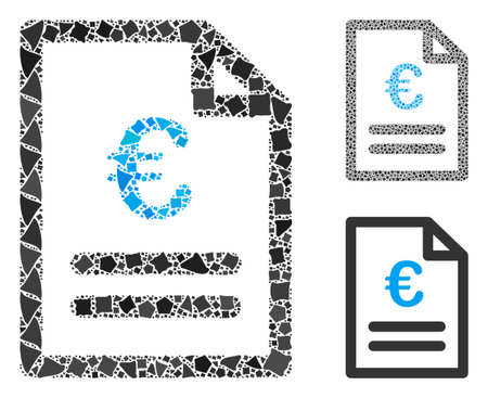 Euro invoice mosaic of inequal parts in various sizes and shades, based on Euro invoice icon. Vector raggy elements are grouped into mosaic. Euro invoice icons collage with dotted pattern.