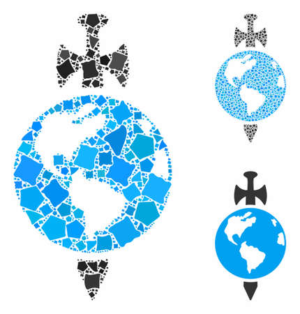 Earth guard mosaic of trembly pieces in different sizes and color hues, based on Earth guard icon. Vector inequal pieces are grouped into collage. Earth guard icons collage with dotted pattern.