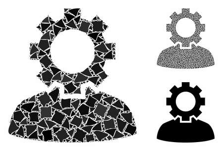 Job composition of abrupt parts in variable sizes and color tints, based on job icon. Vector rugged parts are composed into collage. Job icons collage with dotted pattern.
