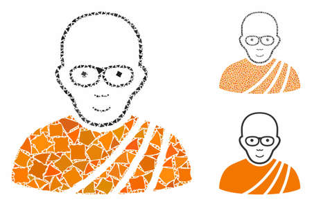 Buddhist monk mosaic of trembly items in different sizes and color tints, based on buddhist monk icon. Vector unequal items are united into mosaic. Buddhist monk icons collage with dotted pattern.