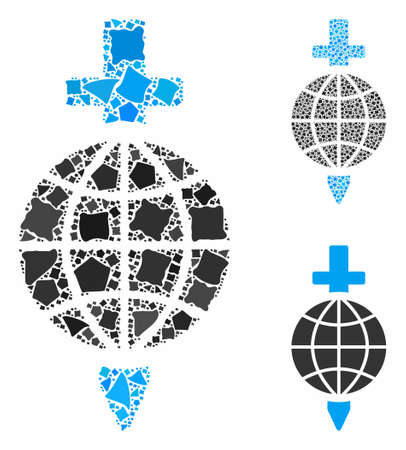 Global safety mosaic of bumpy pieces in different sizes and color hues, based on global safety icon. Vector bumpy pieces are united into composition. Global safety icons collage with dotted pattern.