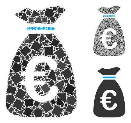 Euro money bag mosaic of inequal elements in different sizes and color hues, based on Euro money bag icon. Vector rough elements are grouped into mosaic.